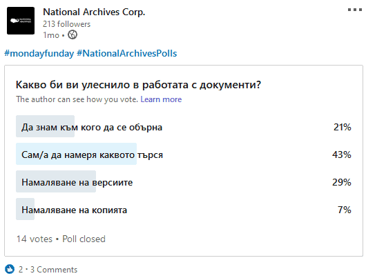 National ARchives Polls in LInkedIn